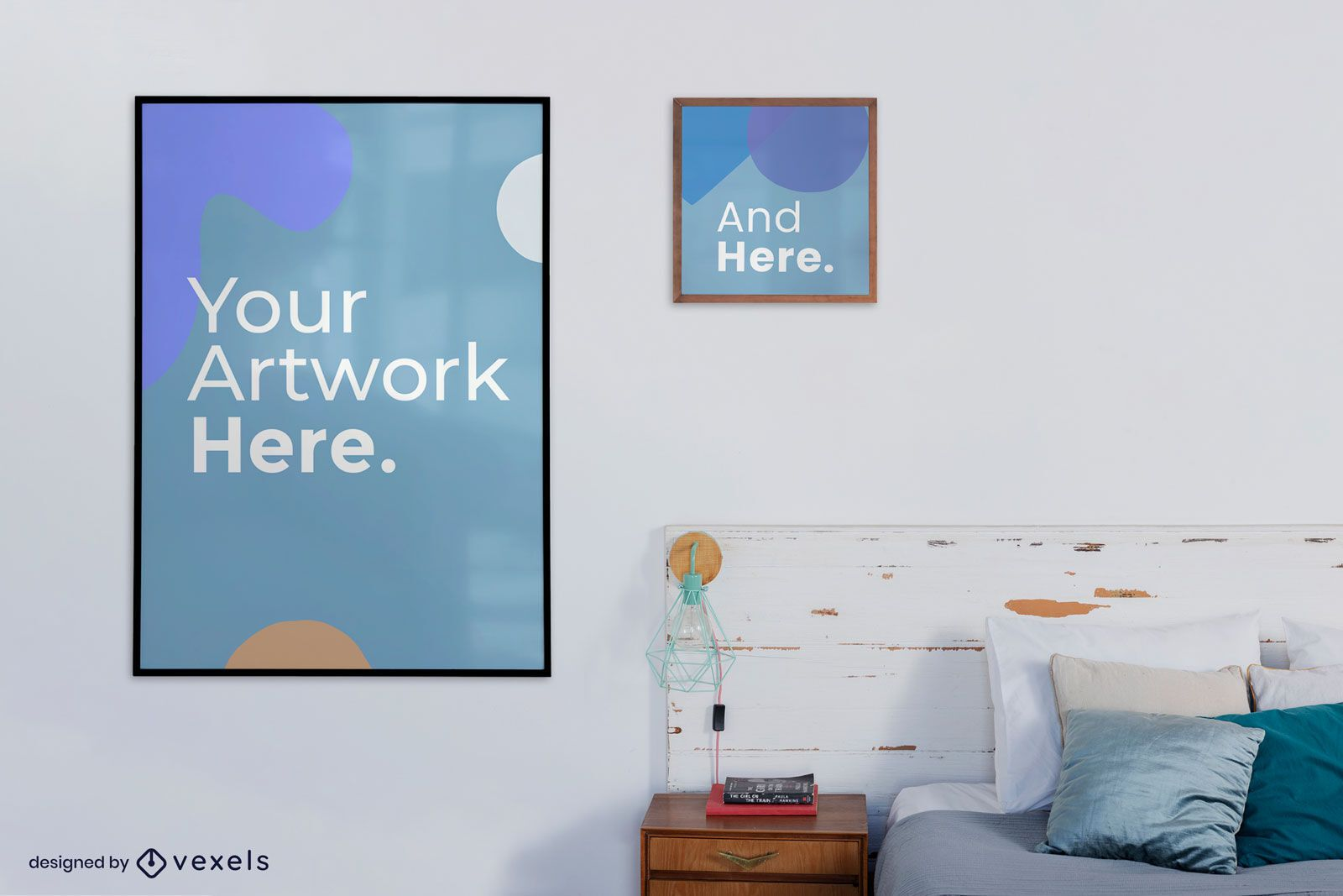 Bed frame hanging artwork mockup design