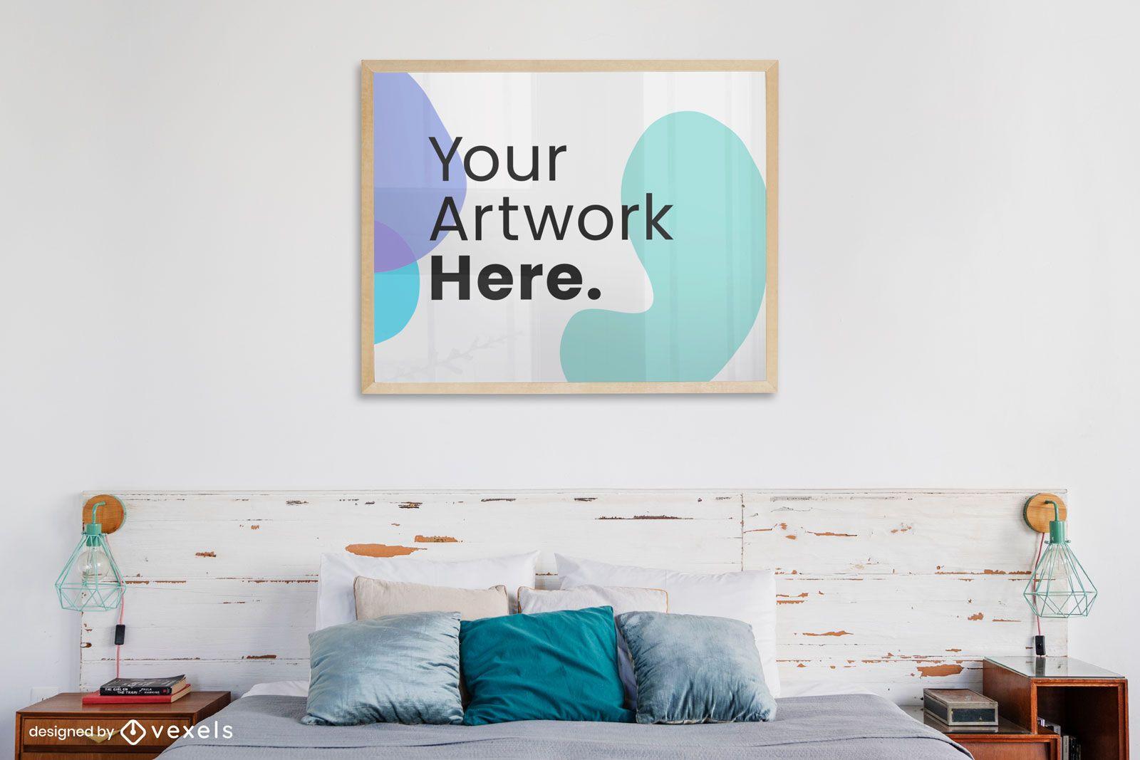 Horizontal frame on bedroom wall mockup