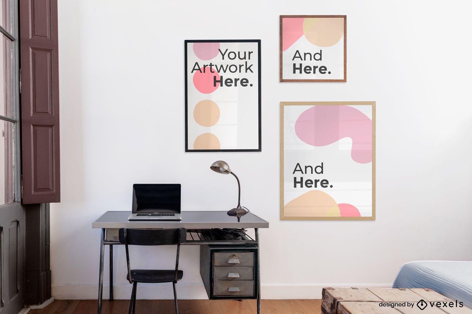 Mockup-Design mit drei Grafikrahmen für den Schreibtisch