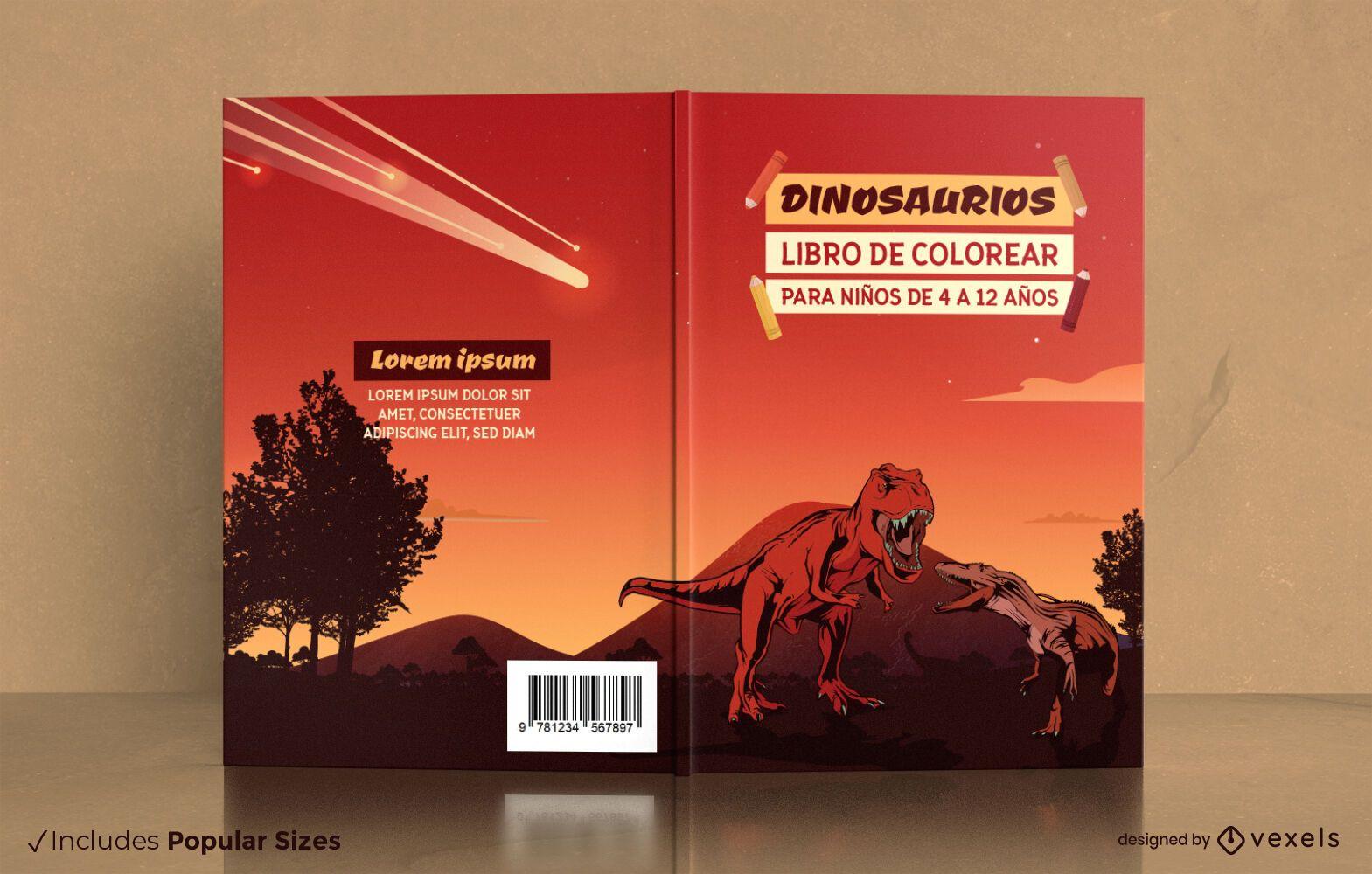 Libro de colorear de dinosaurios para dise?o de portada de ni?os