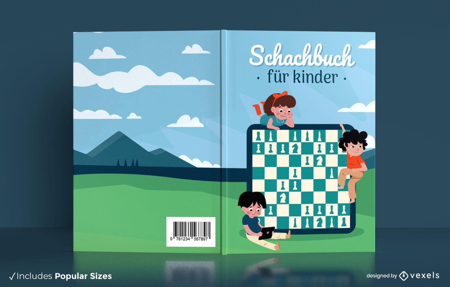 Design alemão da capa do livro de xadrez infantil