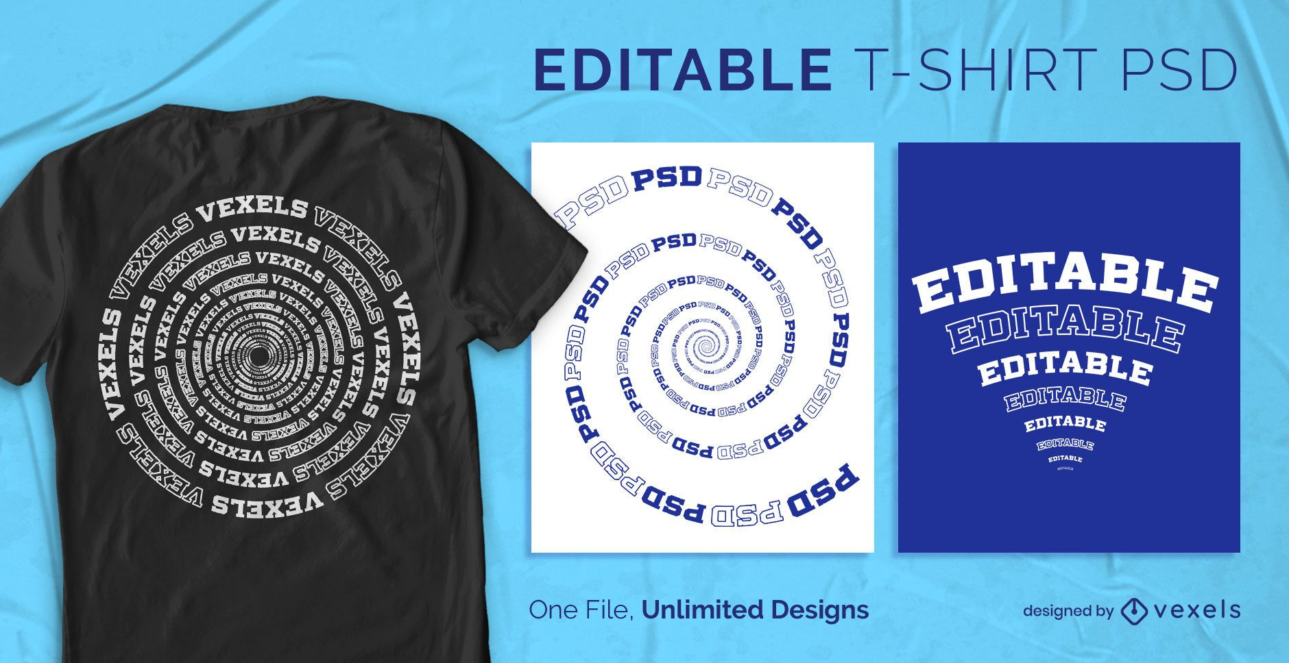 Spirals and curves scalable t-shirt psd