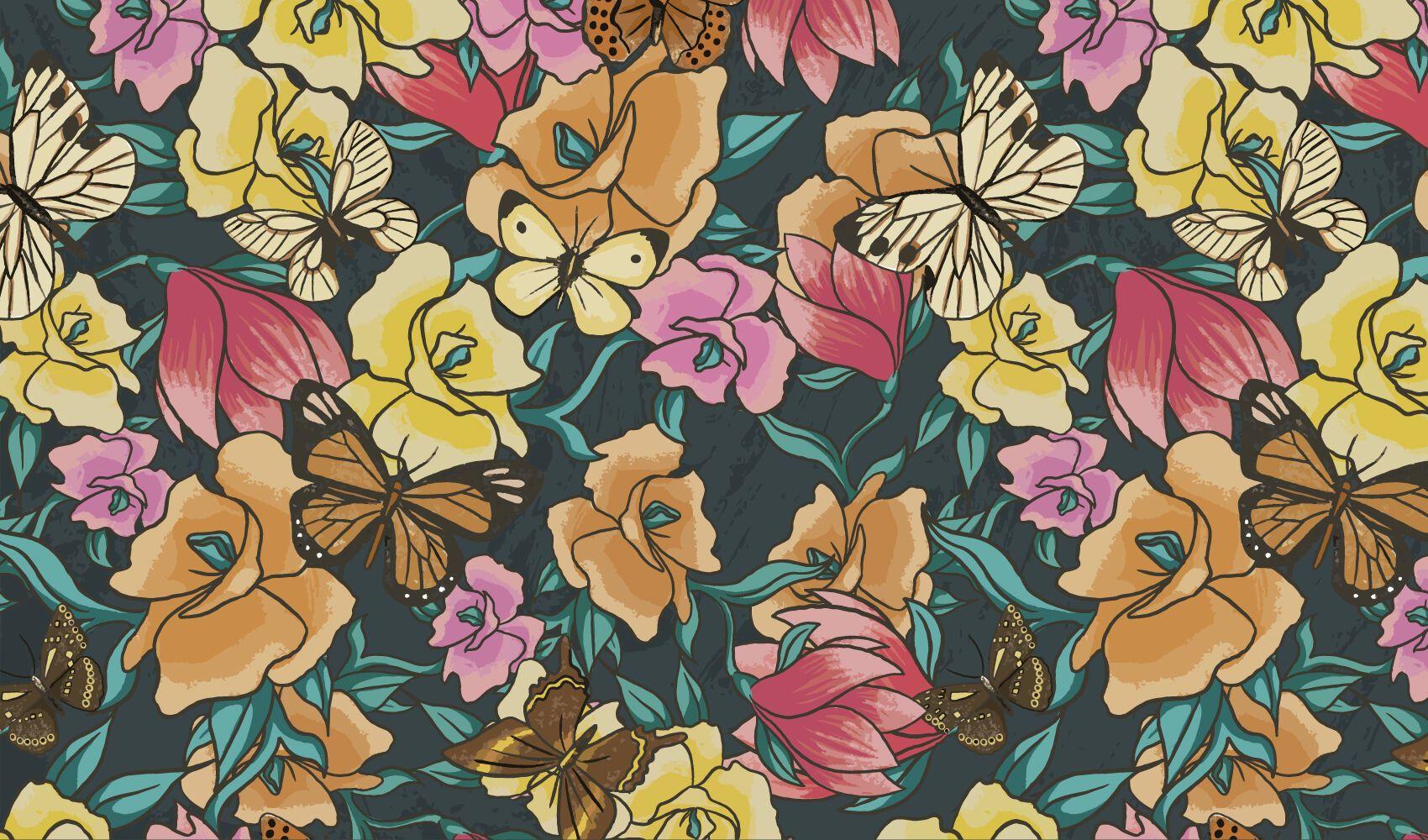 Diseño de patrón de jardín de flores de mariposa