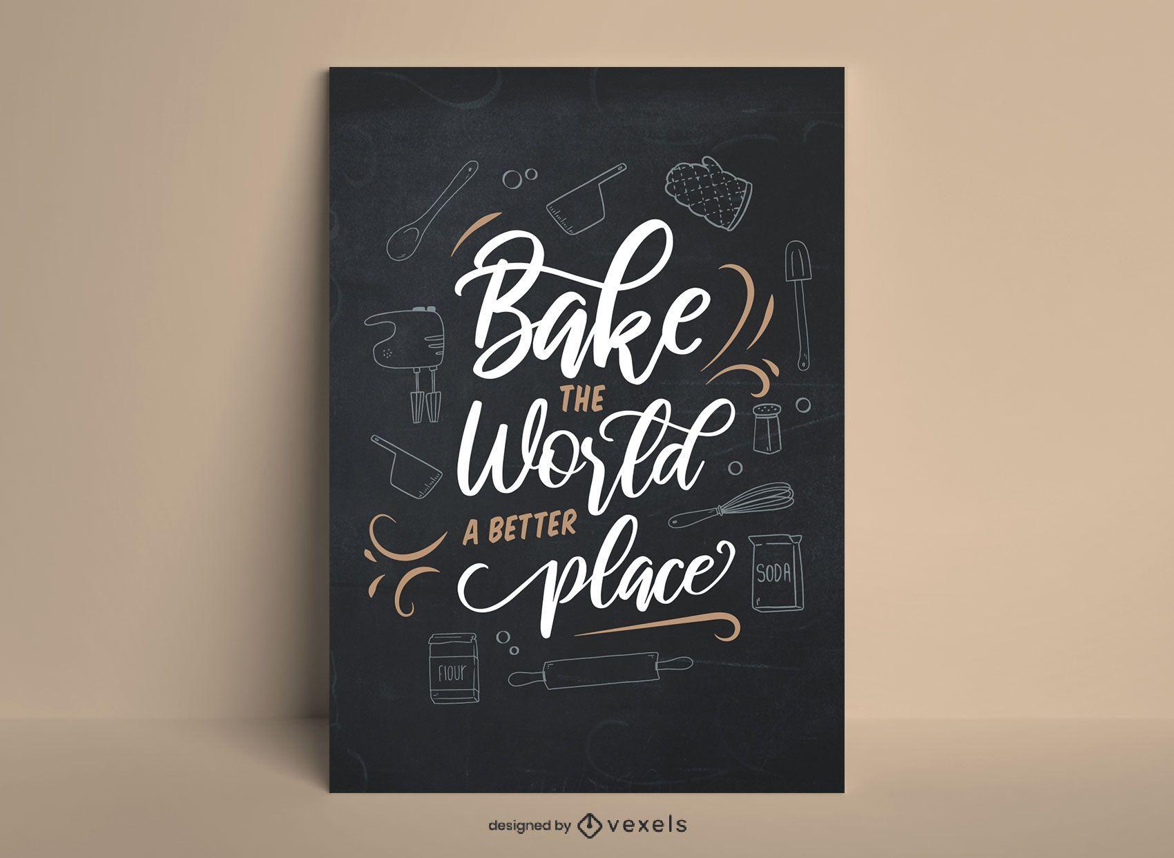 Cartaz de culinária com letras no quadro-negro