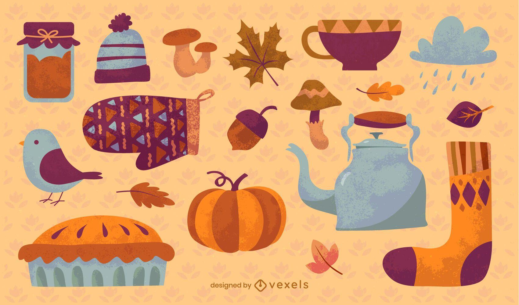 Conjunto de elementos de outono fofo