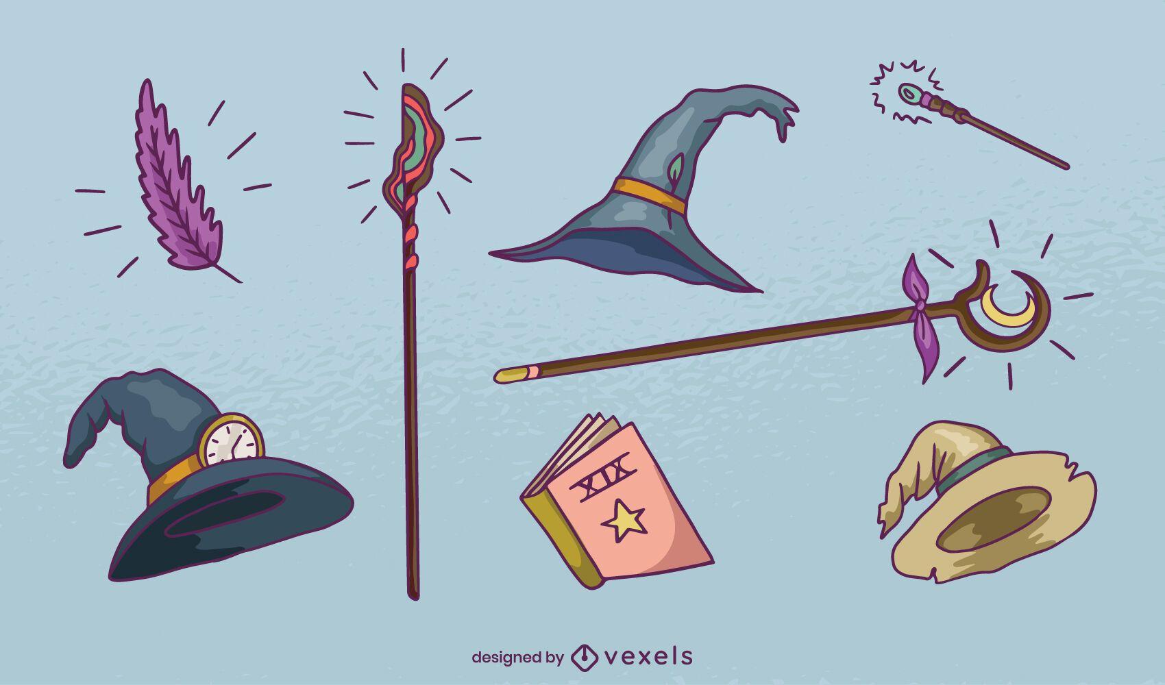 Conjunto de elementos de mago dibujados a mano