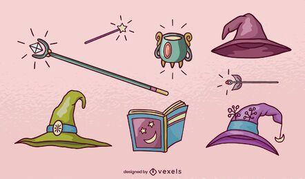 Conjunto de elementos mágicos dibujados a mano