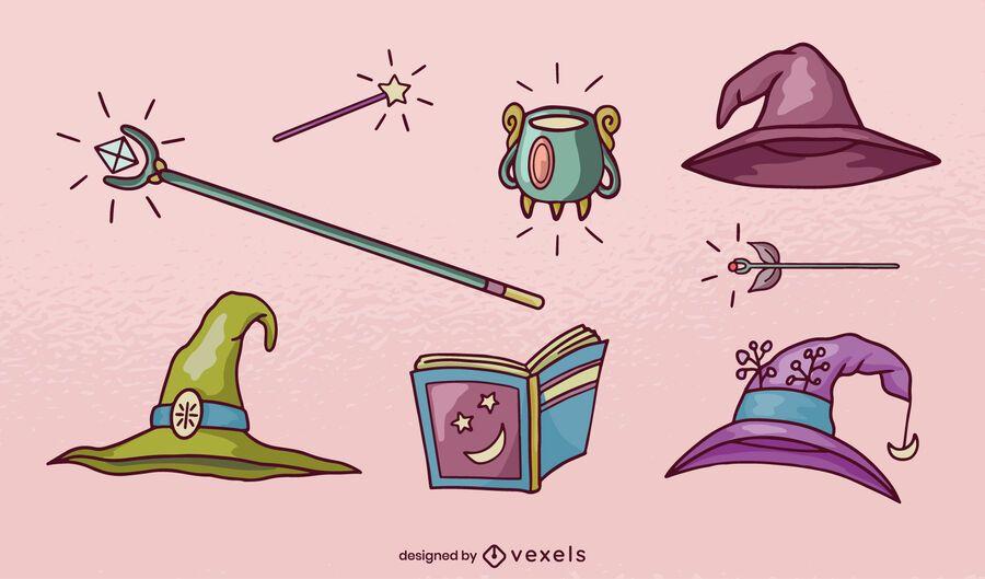 Hand drawn magic elements set