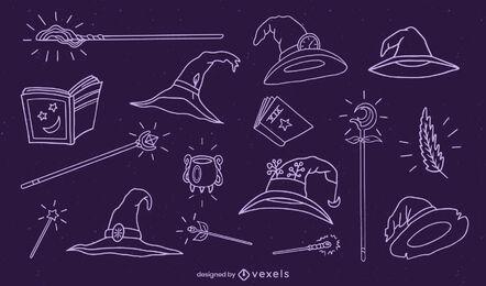 Conjunto de elementos de mágico de traço desenhados à mão