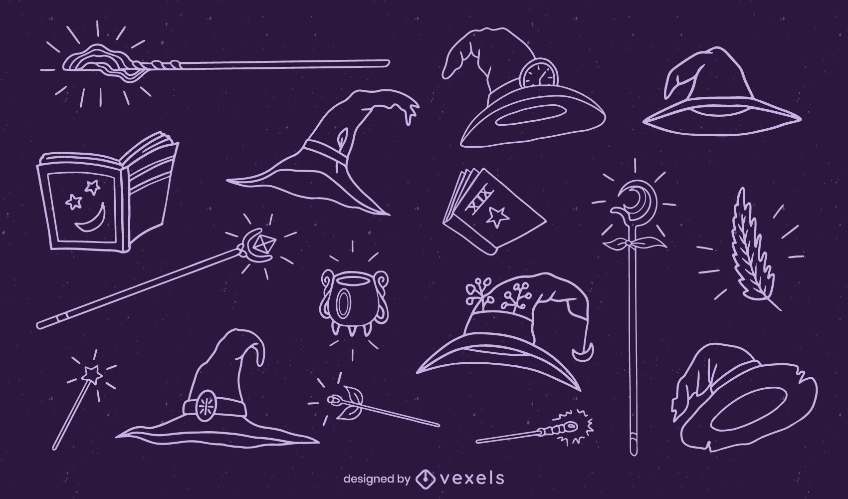 Conjunto de elementos de mago de trazo dibujado a mano