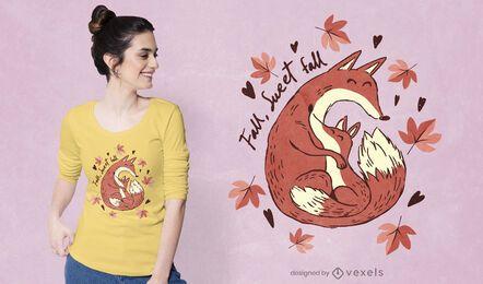 Design fofo de t-shirt de raposas de outono