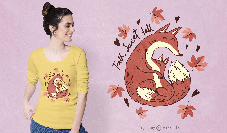 Lindo diseño de camiseta de zorros otoñales