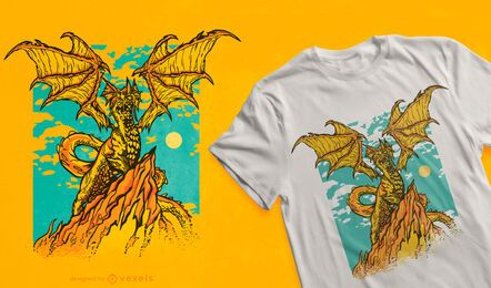 Potente diseño de camiseta de criatura dragón.