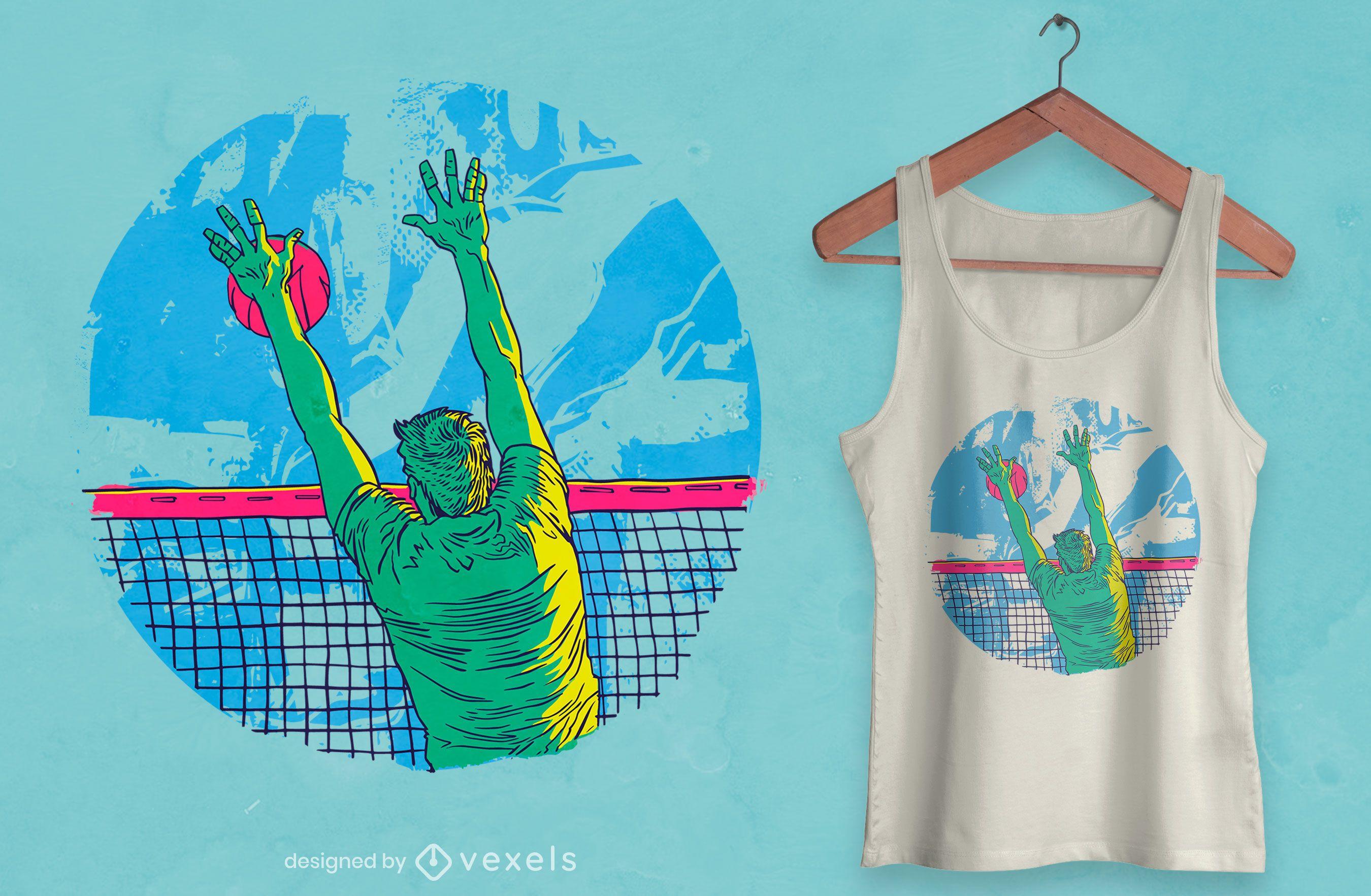 Diseño de camiseta deportiva de jugador de voleibol.