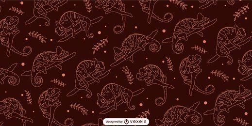 Dark and orange chameleon and leaves pattern