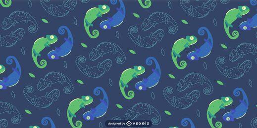 Patrón de camaleones simétricos de tonos verdes