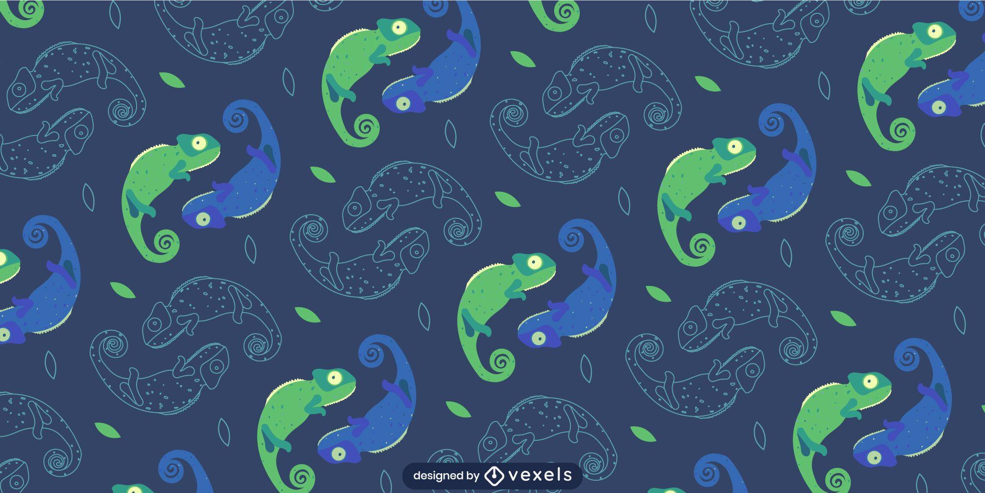 Green tones symmetric chameleons pattern