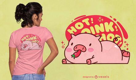 Diseño de camiseta lindo cerdo animal comiendo pimienta
