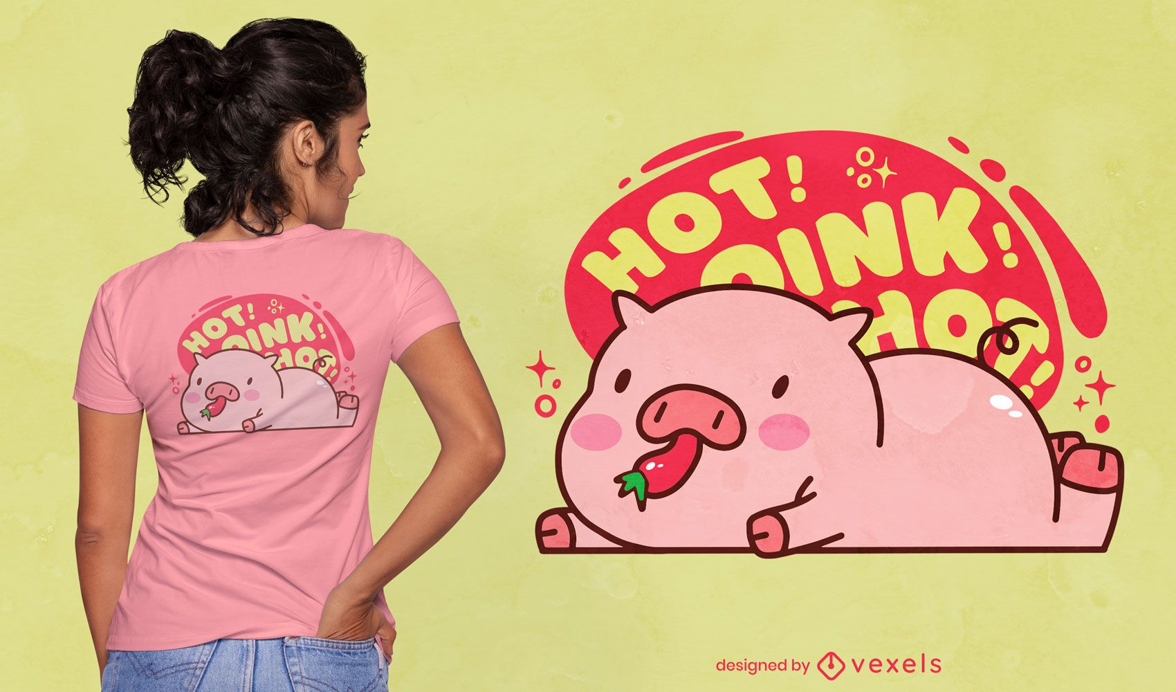 Animal de porco comendo pimenta design de camiseta fofa