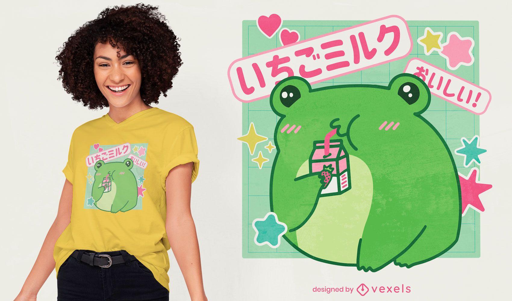 Diseño de camiseta de rana bebiendo leche de fresa