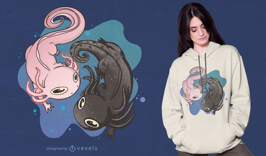 Axolotl animal swimming t-shirt design
