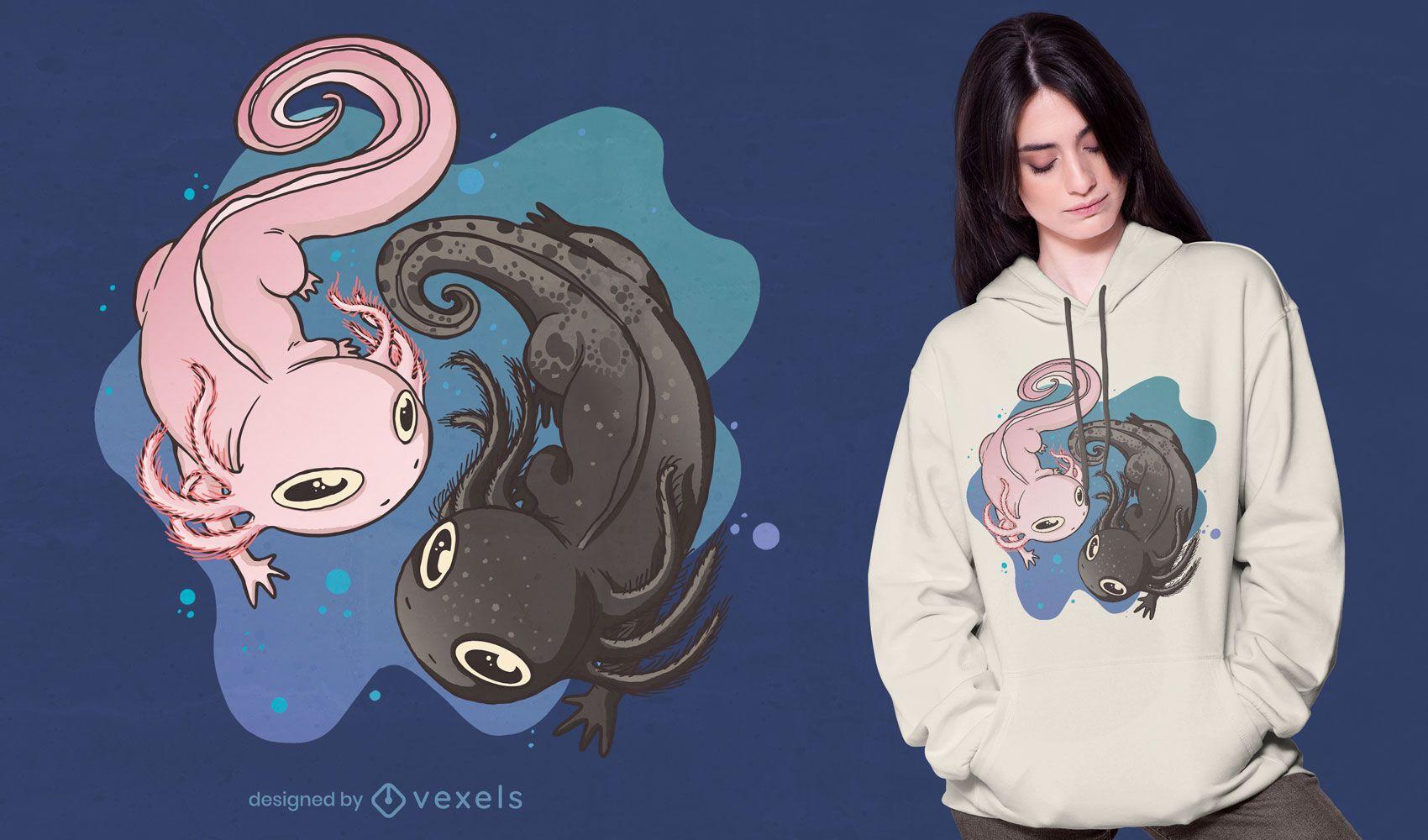 Design de camiseta de natação axolotl animal
