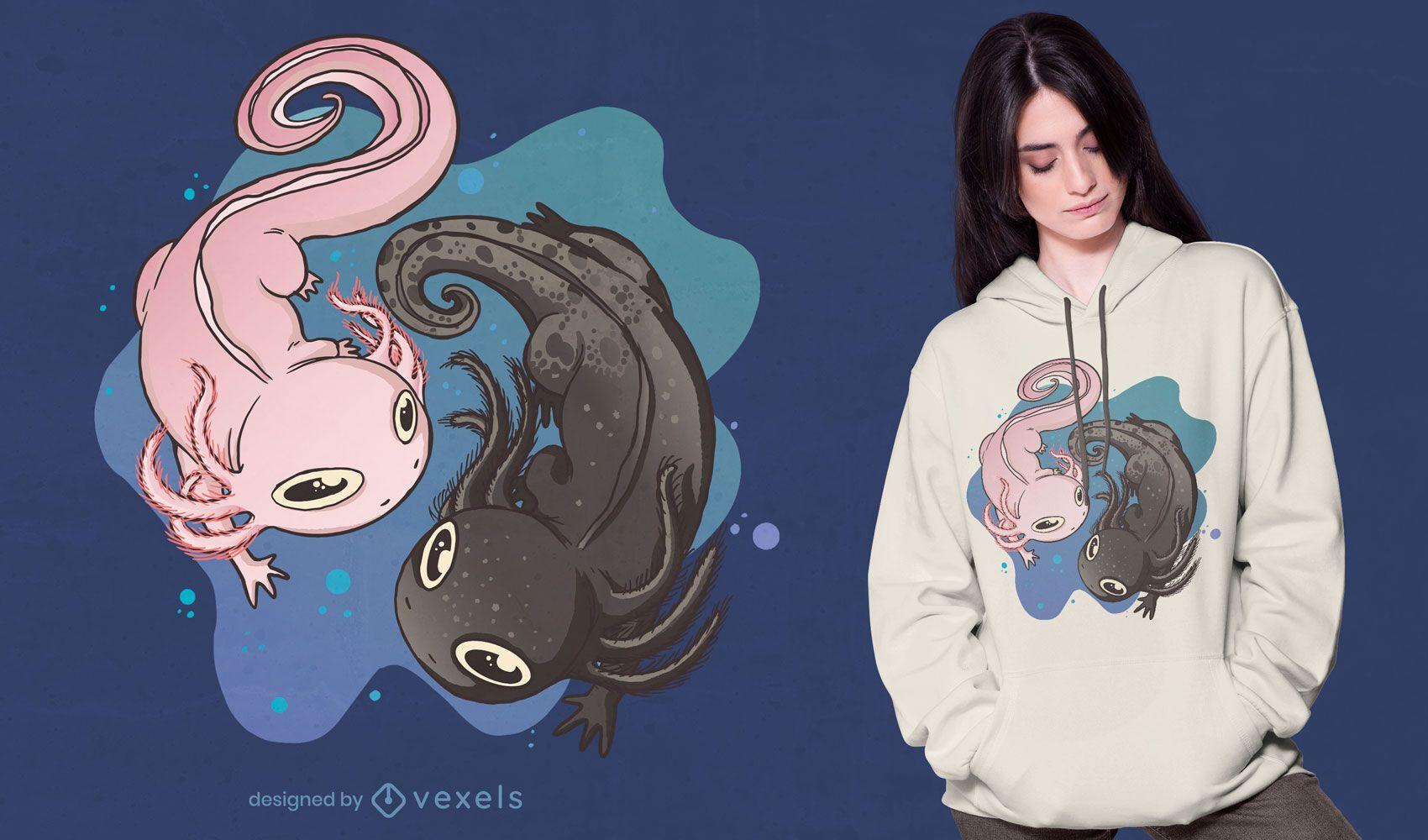 Diseño de camiseta de natación animal Axolotl.