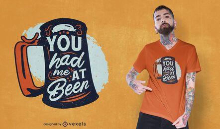 Você me conquistou no design de camisetas de cerveja