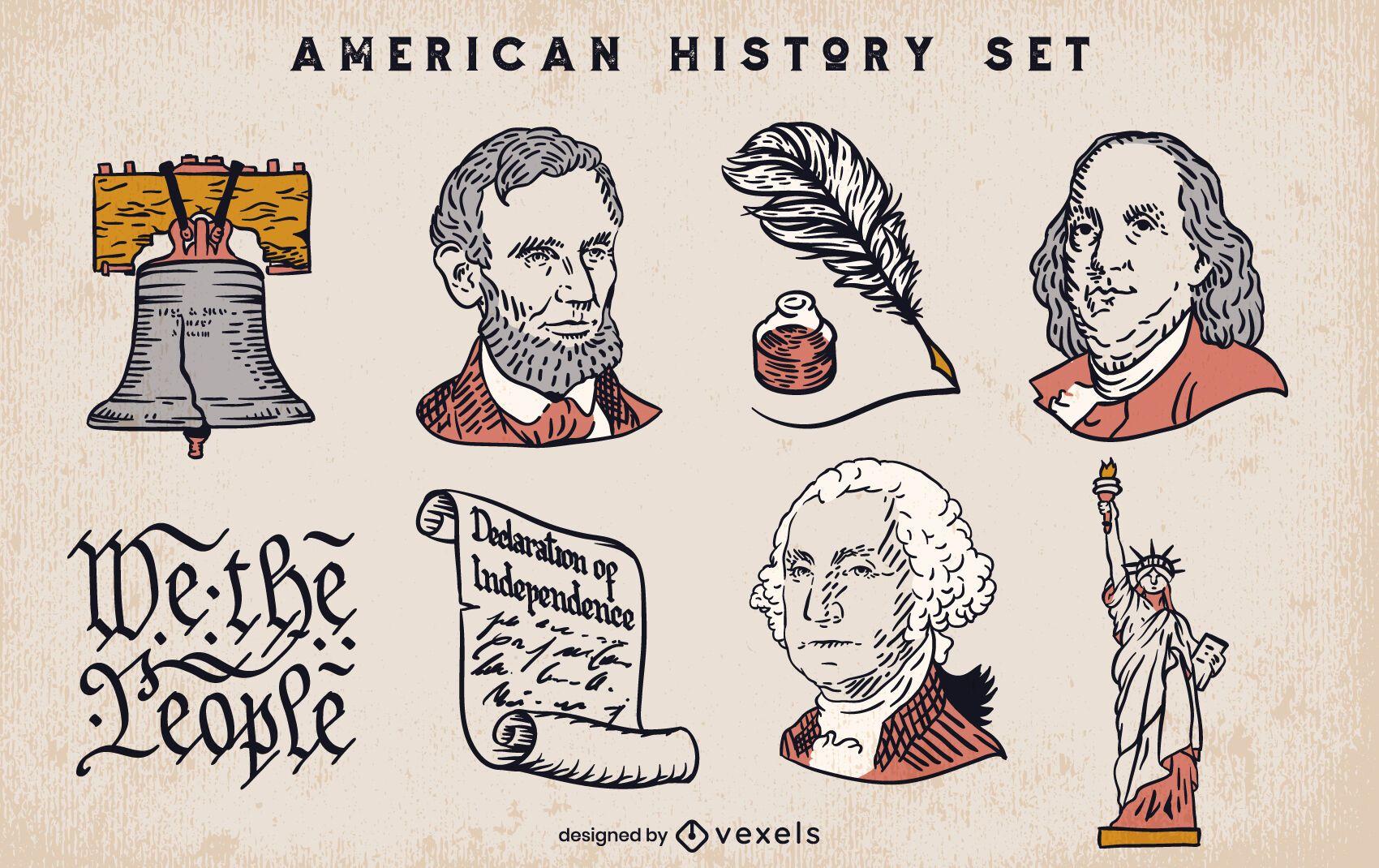 Conjunto de elementos de la historia americana.
