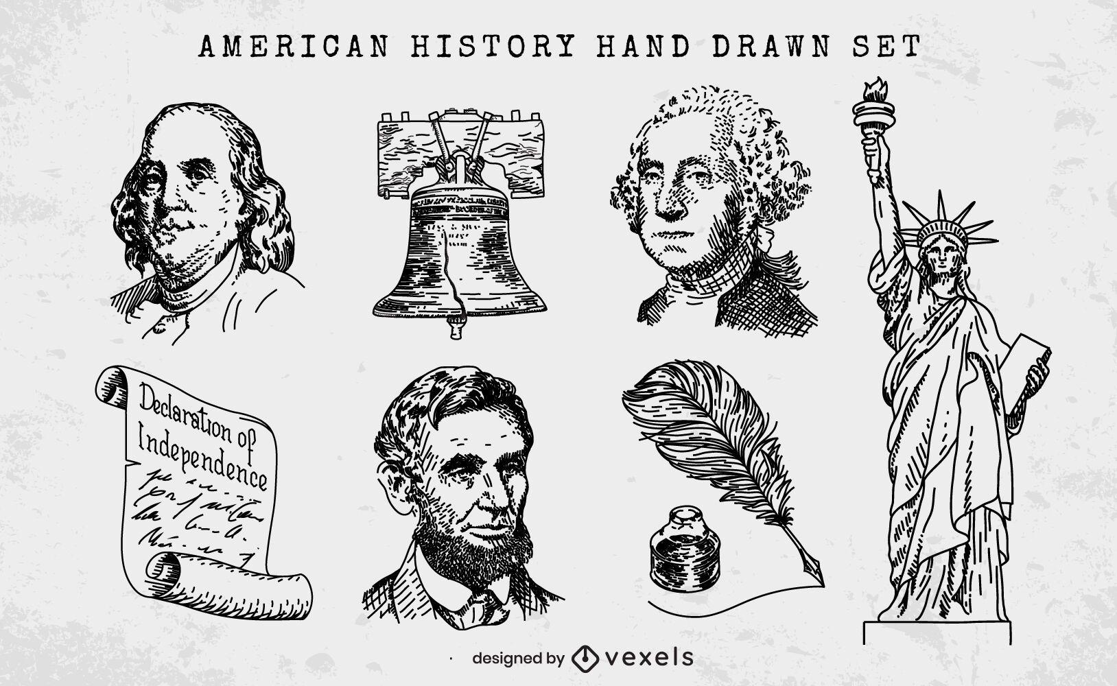 Conjunto de elementos desenhados à mão da história americana