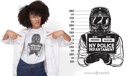 Diseño de camiseta de conductor de motocicleta Mugshot.