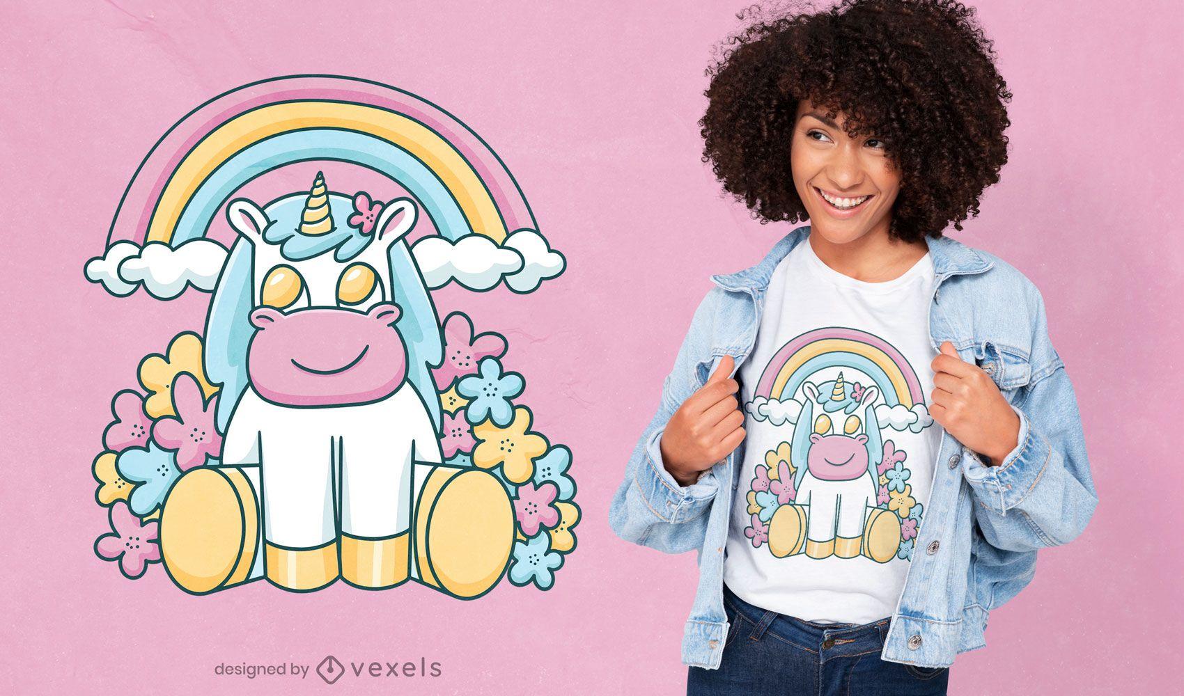 Diseño de camiseta lindo arco iris unicornio sonriente