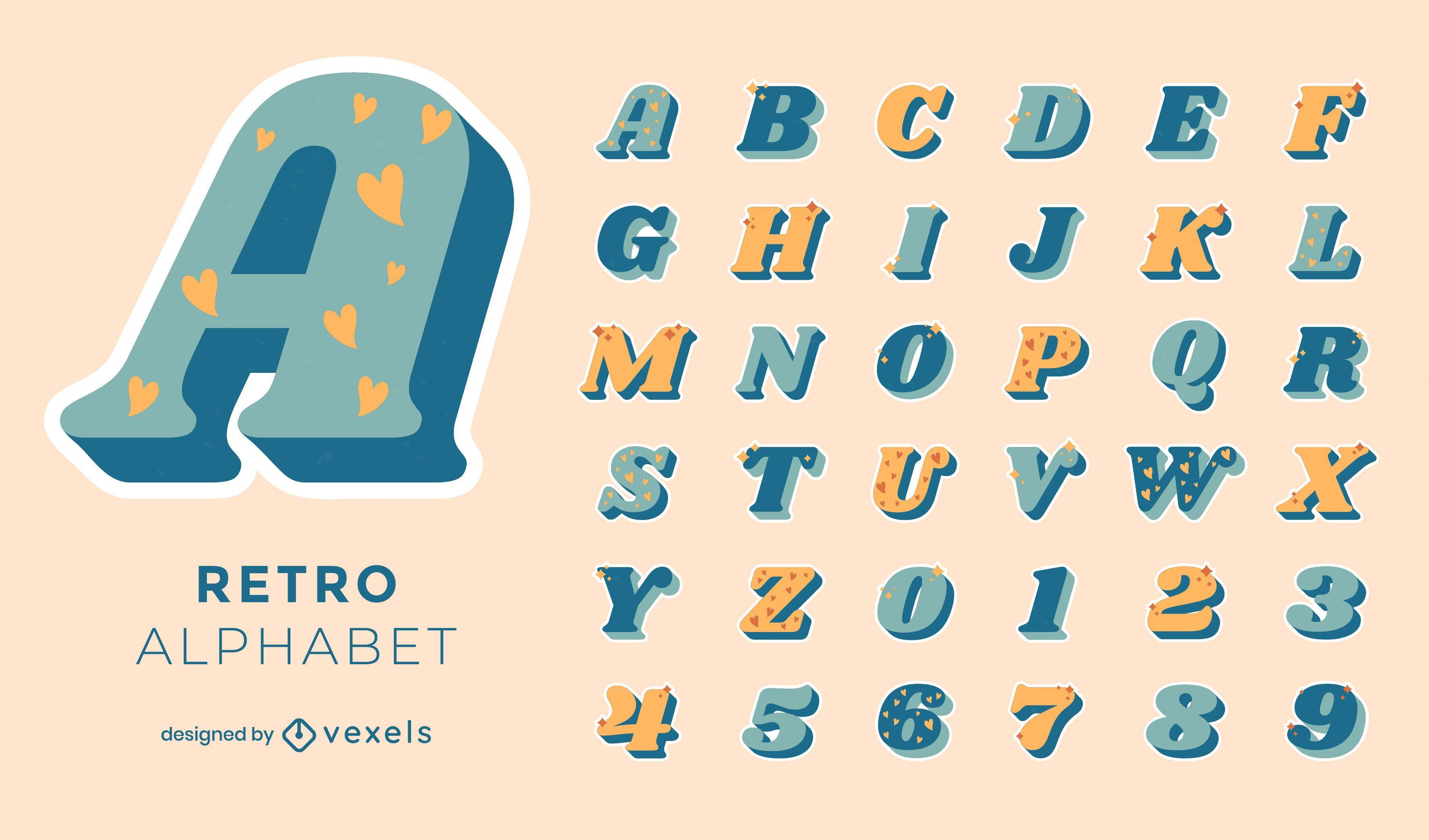 Conjunto de alfabeto de vector retro