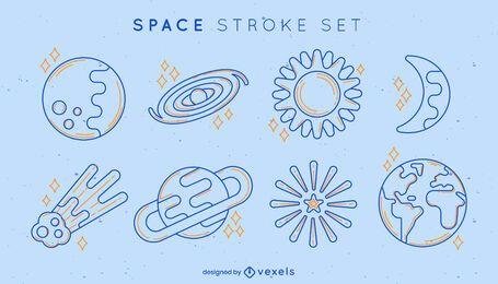 Conjunto de elementos de trazo espacial.