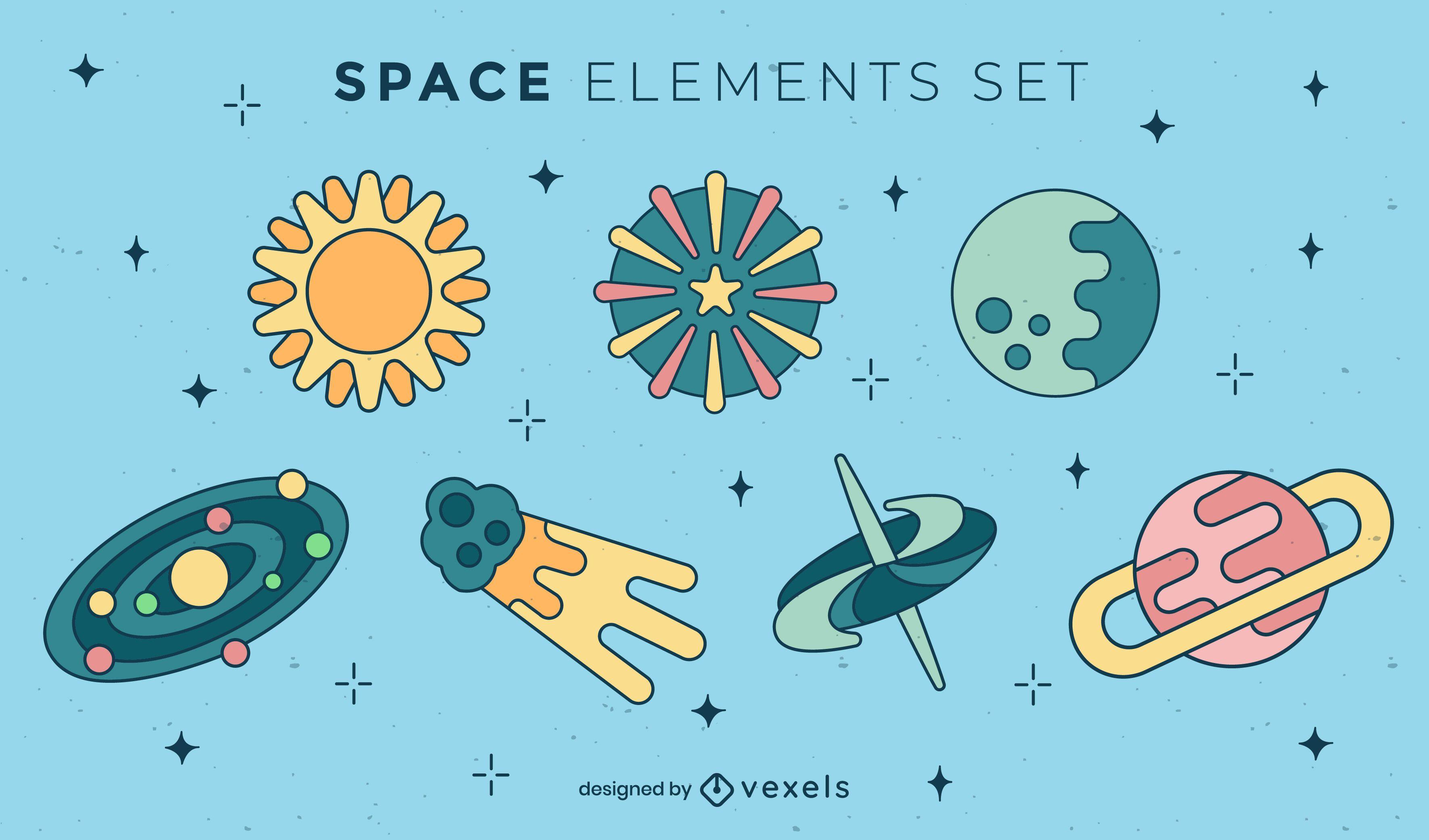 Color stroke space elements set