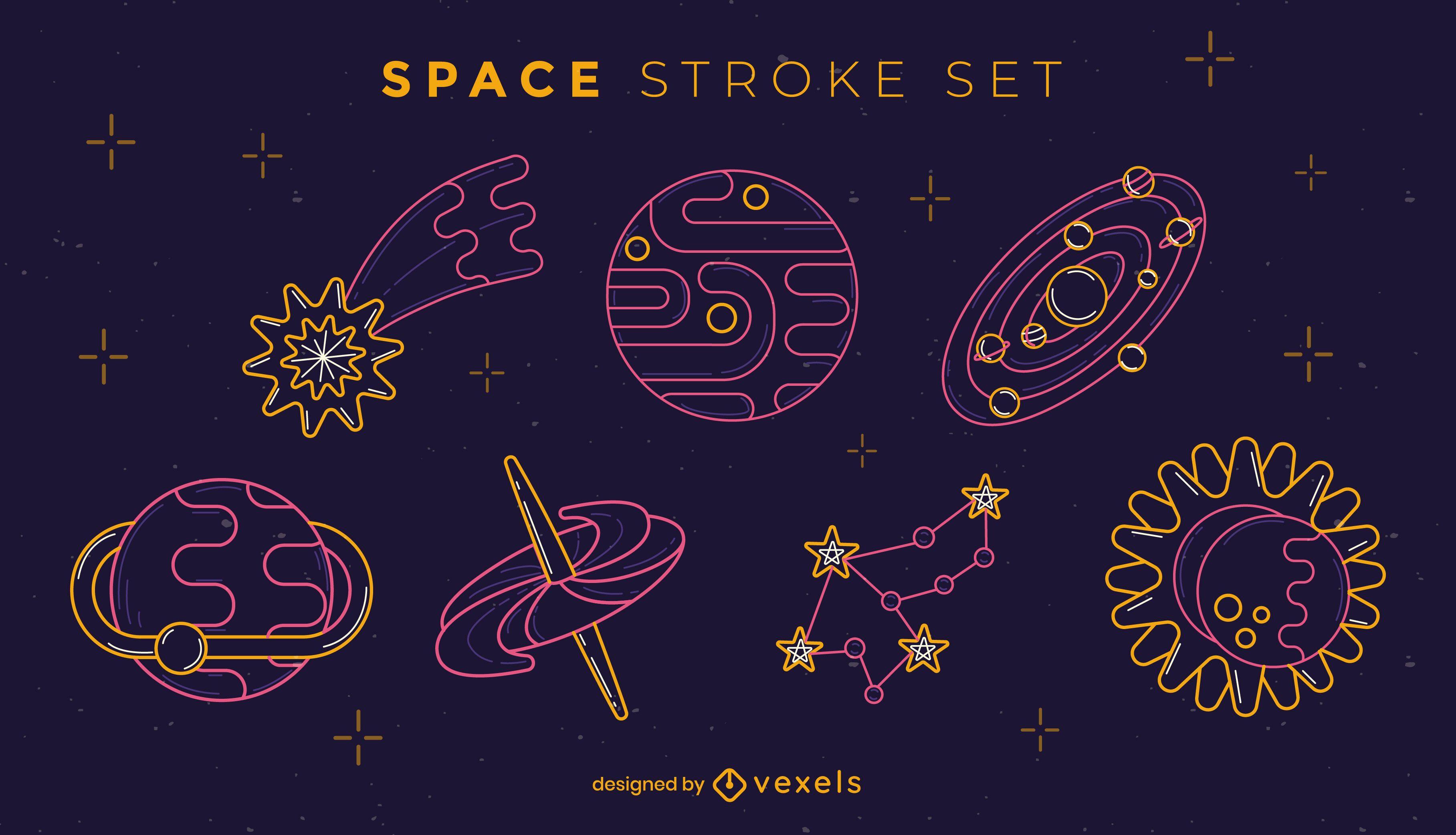 Conjunto de espacio temático de colores de noche de trazo.
