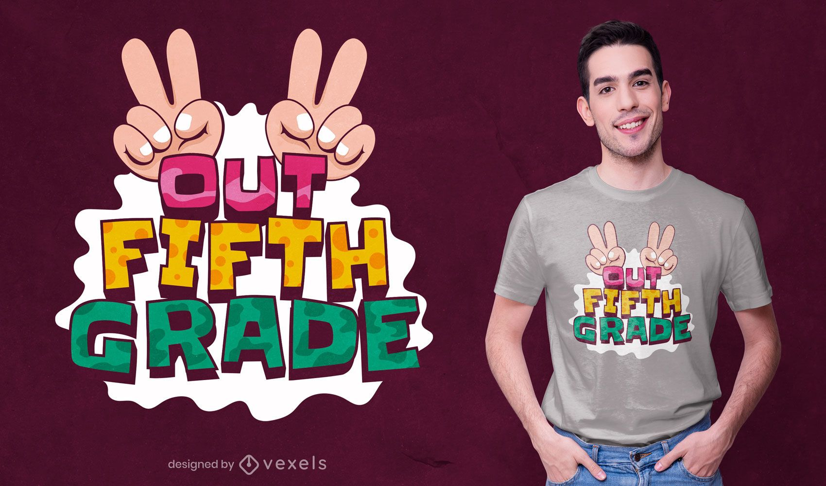 Design de camiseta de desenho animado para a quinta série