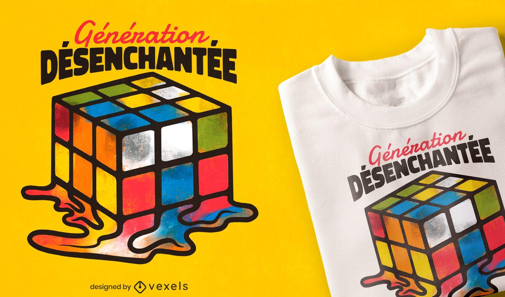 Diseño de camiseta de cubo de rubik derretido