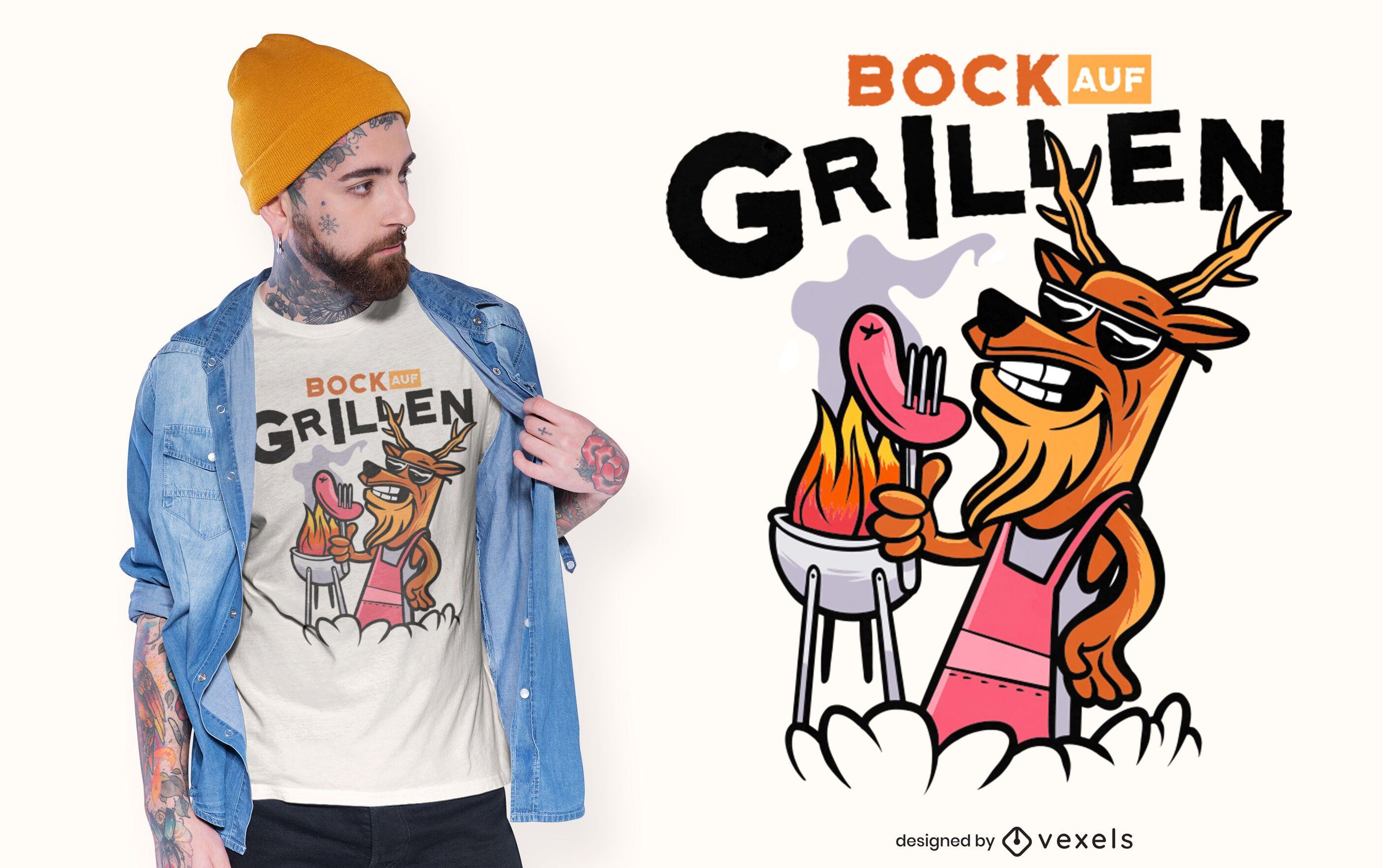 Diseño de camiseta de cocina de barbacoa de ciervo.