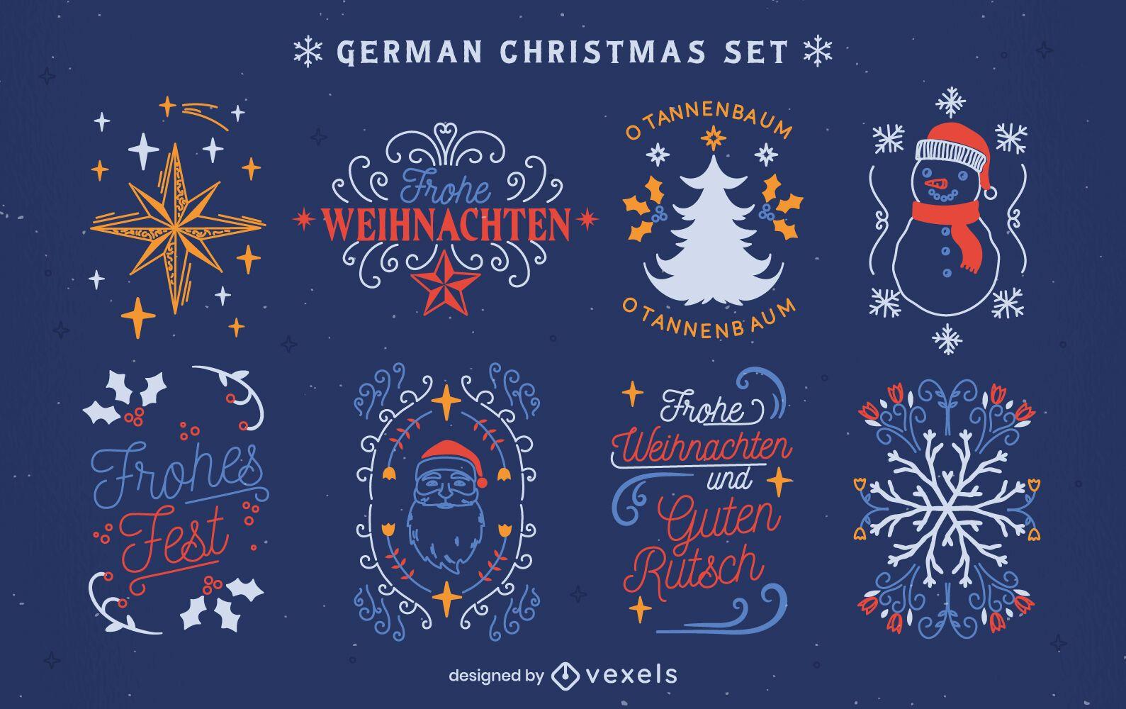 Lindo conjunto de elementos de natal em alemão