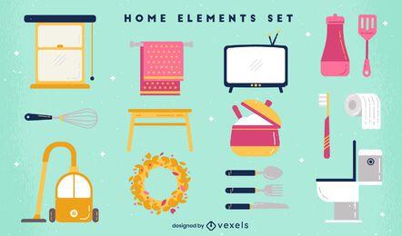 Conjunto de elementos de casa plana