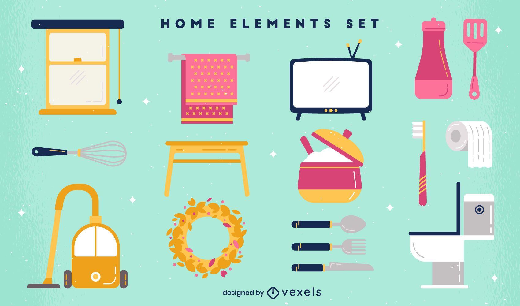 Conjunto de elementos planos para el hogar.