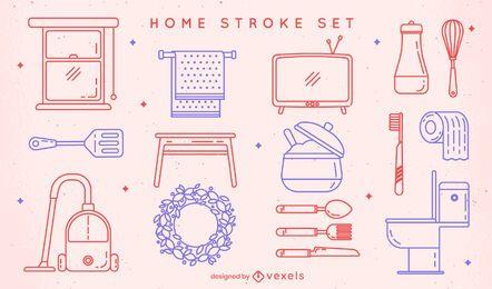 Set von Home-Stroke-Elementen