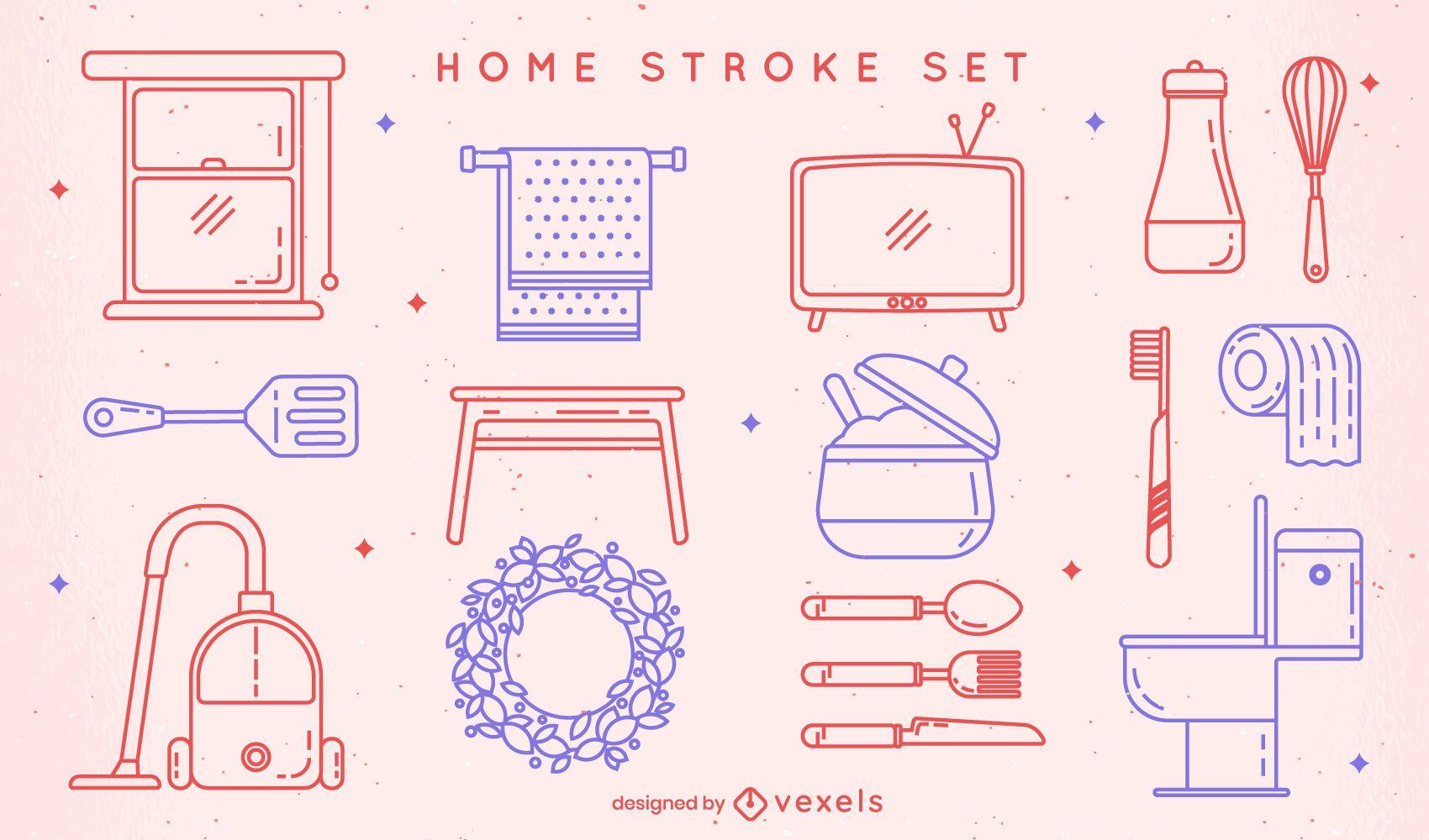Set of home stroke elements