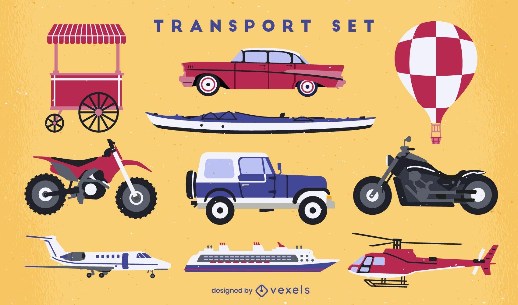 Conjunto plano de vehículos de transporte.