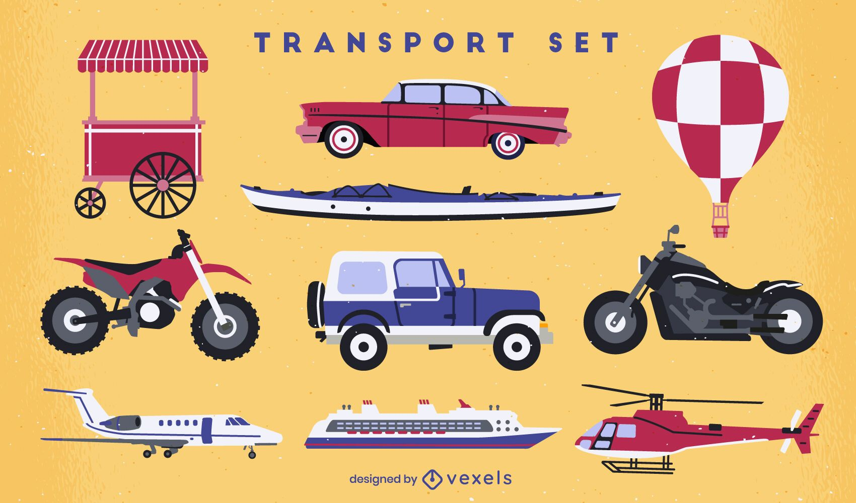Transport vehicles flat set