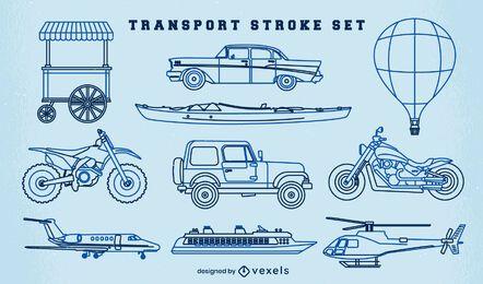 Conjunto de trazo de vehículos de transporte.