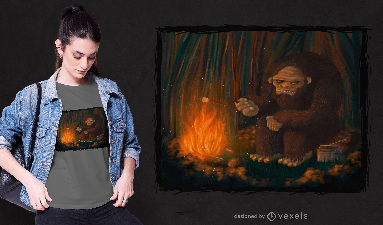 Diseño de camiseta Bigfoot camping hoguera