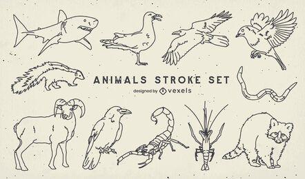 Set of stroke wild animals