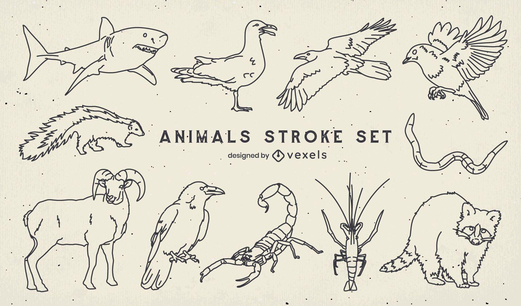 Conjunto de animales salvajes de trazo.